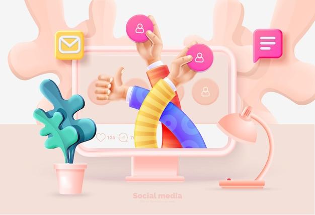 소셜 미디어 마케팅. 소셜 미디어 아이콘 3d 그림을 들고 모니터에 팔