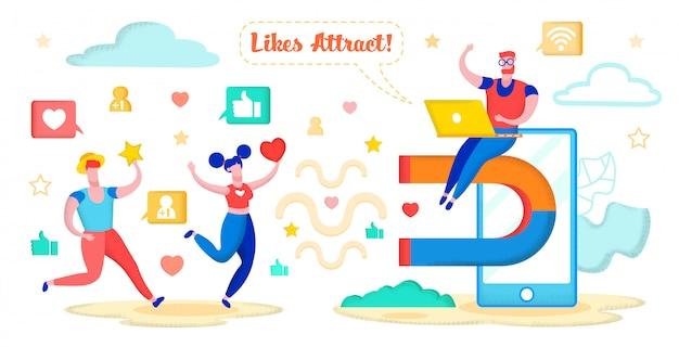 Social media marketing, attracting hearts, stars.