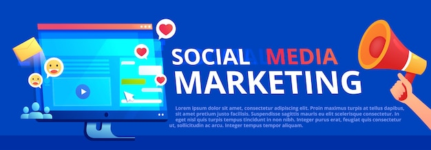 소셜 미디어 마케팅 배너. 웹 사이트와 좋아요 및 메시지가있는 컴퓨터 모니터 화면. 확성기와 손으로 사이트를 광고합니다.