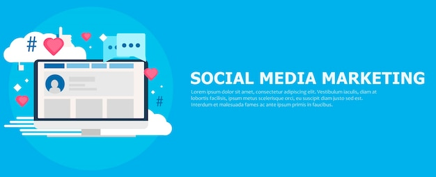 Social media marketing banner. computer with likes, cloud, comment, hashtags.