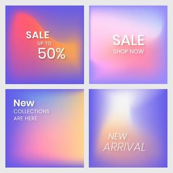 Banner di social media marketing impostato sfondo colorato