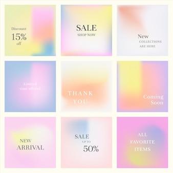 Banner di social media marketing impostato sfondo sfumato pastello