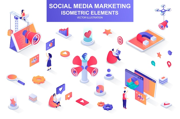 Social media marketing bundle of isometric elements  illustration