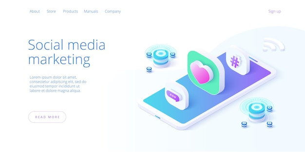 Social media marketing business illustration in isometric design.
