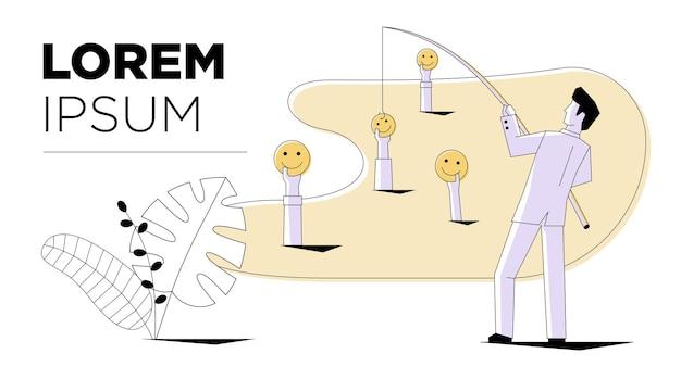Social media marketing businessman fishing emoji smiley sign modern style business internet