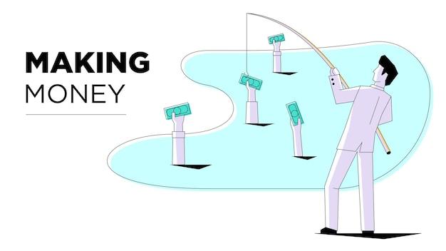 소셜 미디어 마케팅 사업가 현대적인 스타일의 모바일 인터넷 기술 비즈니스처럼 낚시
