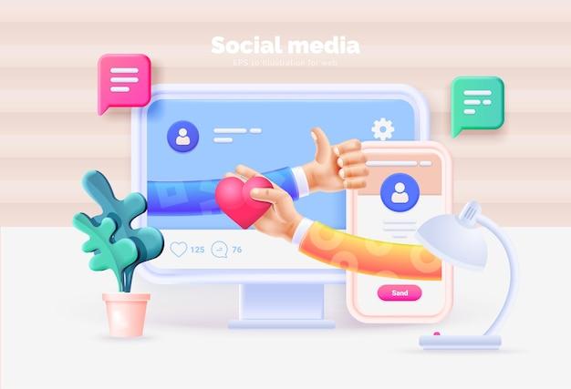 소셜 미디어 마케팅. 소셜 미디어 사용자 인터페이스 3d 일러스트와 함께 컴퓨터와 스마트 폰