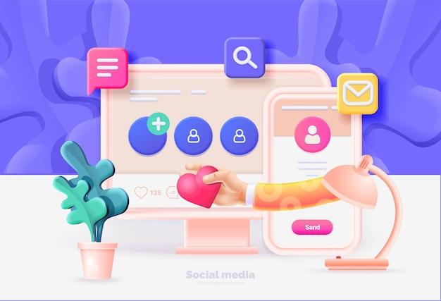 소셜 미디어 마케팅 컴퓨터 및 소셜 미디어 사용자 인터페이스가 있는 스마트폰 소셜 네트워크를 사용하는 사람들 간의 통신 컴퓨터 전화 아이콘 3d 스타일이 있는 벡터 그림