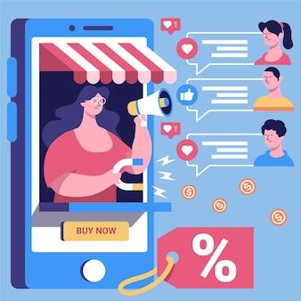Illustrazione sociale di concetto di vendita di media