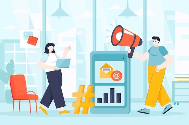 ランディングページの人々のキャラクターのフラットなデザインイラストのソーシャルメディアマーケティングの概念