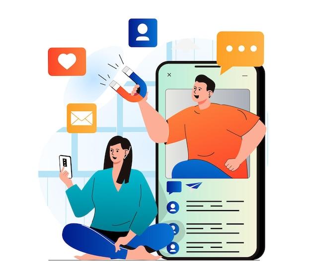 현대적인 평면 디자인의 소셜 미디어 마케팅 개념 여성은 메시지를 보내거나 게시물을 좋아합니다.