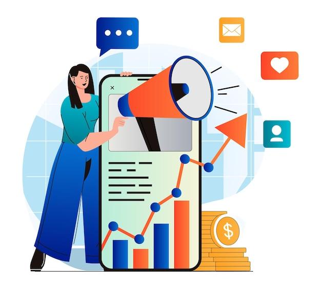 Концепция маркетинга в социальных сетях в современном плоском дизайне женщина с мегафоном, привлекающая аудиторию