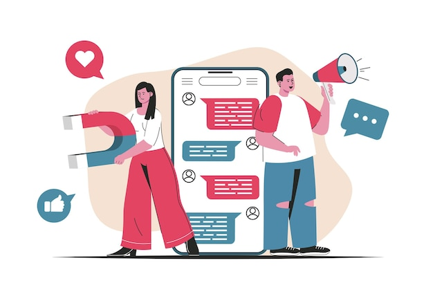 Social media marketing concept isolated. attracting new customers, online promotion. people scene in flat cartoon design. vector illustration for blogging, website, mobile app, promotional materials.