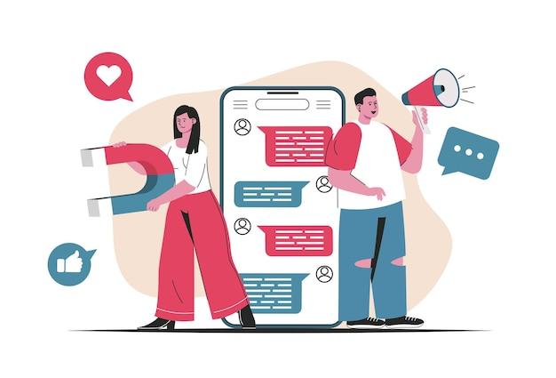 Изолированная концепция маркетинга в социальных сетях. привлечение новых клиентов, продвижение в сети. люди сцены в плоском мультяшном дизайне. векторная иллюстрация для ведения блога, веб-сайт, мобильное приложение, рекламные материалы.