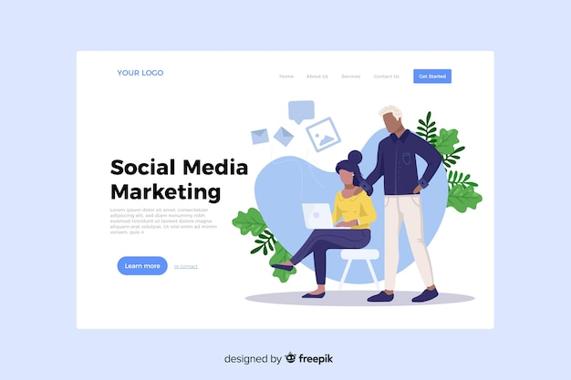 Social media marketing concept for landing page