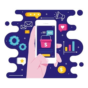Tema del concetto di social media marketing