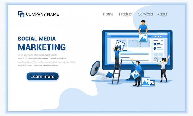 Social media marketing concept with characters. business online advertising, marketing presentation.