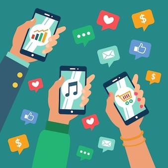 Concetto di marketing dei social media con il telefono