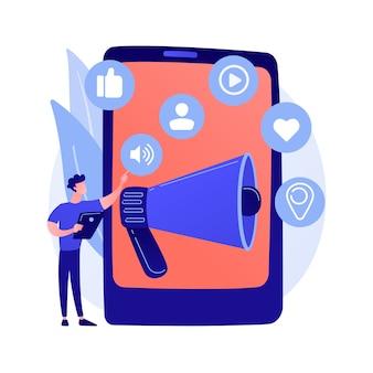 소셜 미디어 마케팅. 전자 상거래 도구, smm 관리, 온라인 프로모션. 제품 홍보를 위해 소셜 네트워킹을 사용하는 사업가.