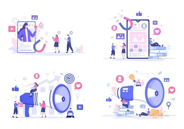 소셜 미디어 마케팅 평면 그림