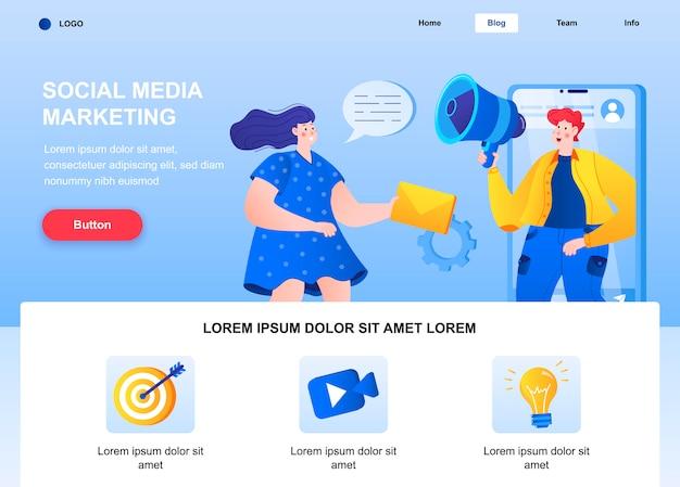 Плоская целевая страница для маркетинга в социальных сетях. объявление маркетолога на веб-странице мегафона