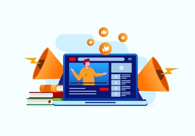 Social media marketing flat vector illustration for banner