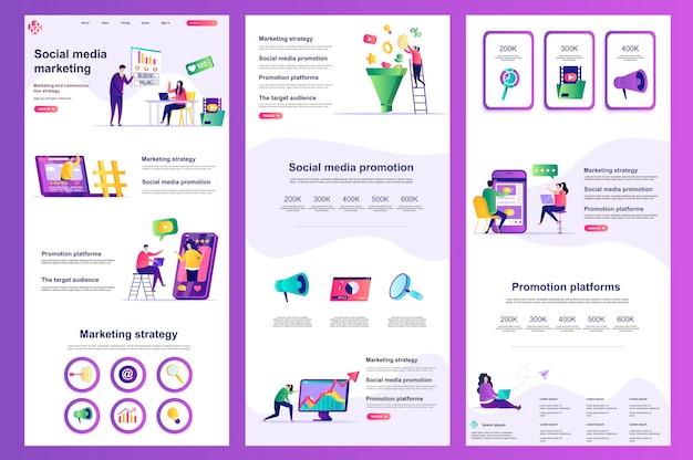 Плоский шаблон веб-сайта для маркетинга в социальных сетях, средний контент и нижний колонтитул целевой страницы