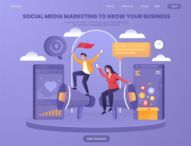 Social media marketing to grow your business flat illustration concept