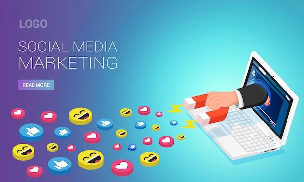 Шаблон домашней страницы маркетинга в социальных сетях. человек с магнитом притягивает лайки из youtube видео на экране ноутбука, изометрическая иллюстрация