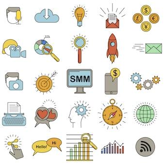 소셜 미디어 마케팅 아이콘 컬러 세트.