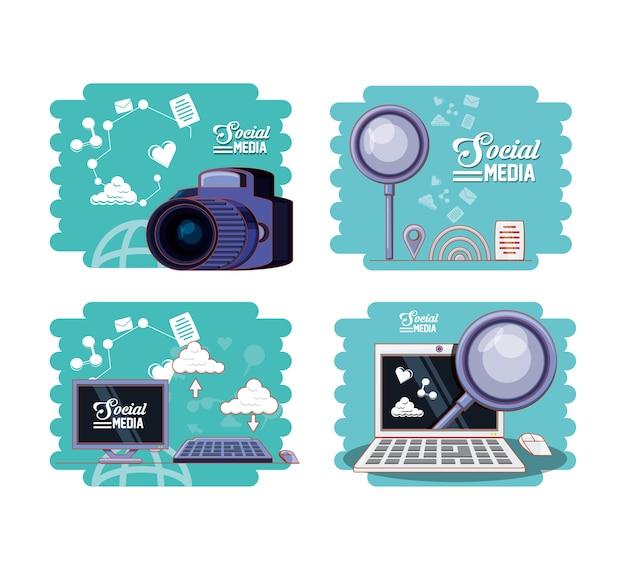 Social media marketing icons vector illustration design