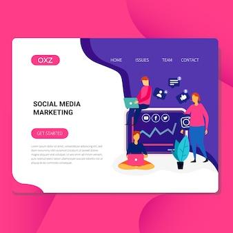 Social media marketing illustration for website