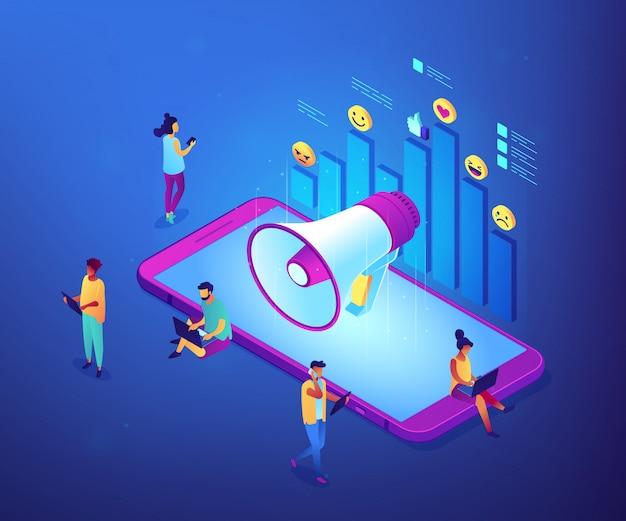 Социальные медиа маркетинг изометрическая 3d концепции иллюстрации.