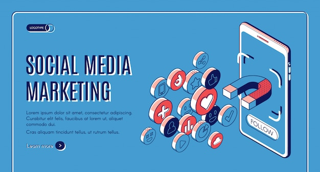 Social media marketing isometric web banner.