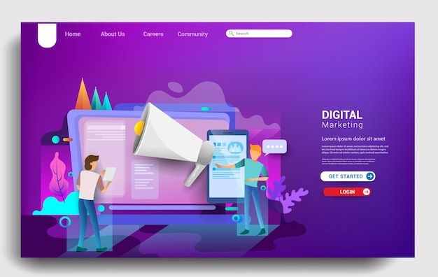 Social media marketing landing page template, business strategy, analytics and brainstorming. modern flat design concepts for website design ui/ux and mobile website development. vector illustration.