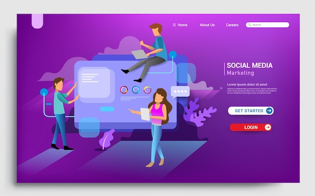 Social media marketing landing page template modern fdesign concept of web page design for website