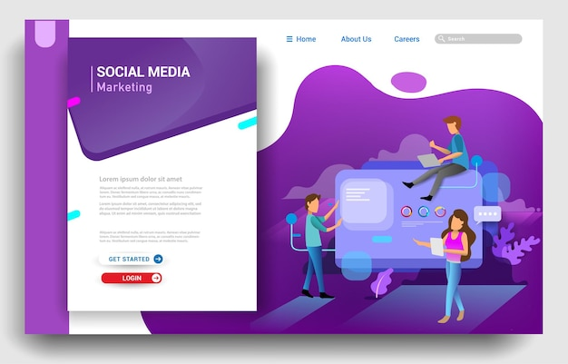 ソーシャルメディアマーケティングのランディングページテンプレート。ウェブサイトとモバイルウェブサイトのウェブページデザインのモダンなフラットデザインコンセプト。ベクトルイラスト