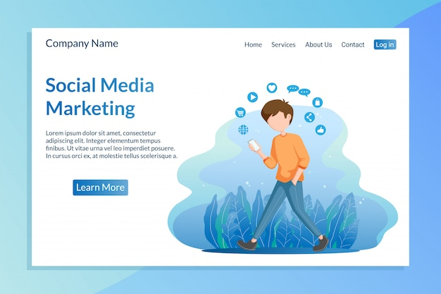 Social media marketing landing page template with young man a
