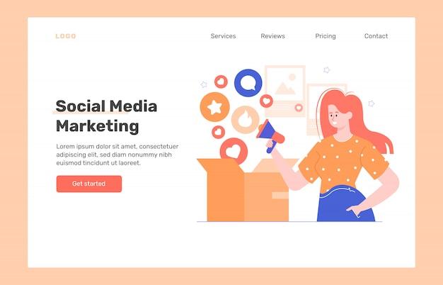 Маркетинг в области сми. концепция веб-дизайна целевой страницы. девушка с мегафоном и коробкой, в которую попадают лайки и комментарии. увеличить охват аудитории для рекламы. плоская иллюстрация.