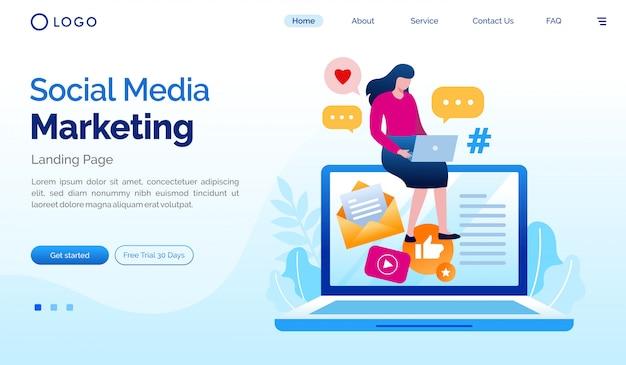Social media marketing landing page website flat illustration vector template