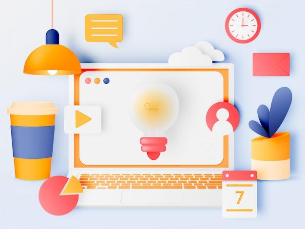 かわいいパステルカラースキームとペーパーアートスタイルのソーシャルメディアマーケティングのラップトップのコンセプト