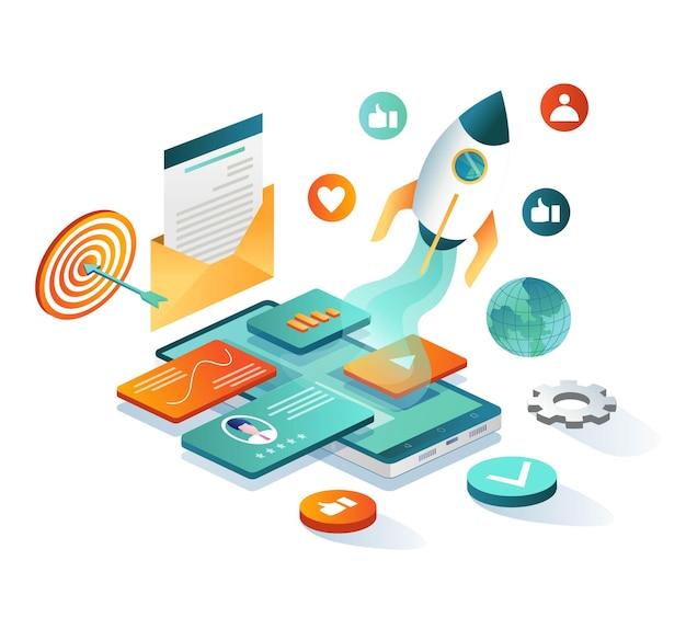Social media marketing launching rocket