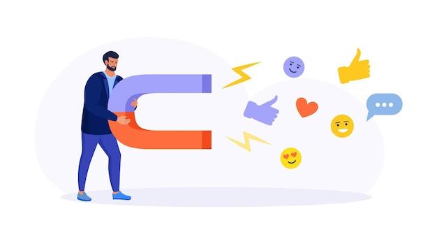 소셜 미디어 마케팅. 소셜 미디어 콘텐츠 아이콘, 좋아요, 팔로워, 채팅 메시지를 끌어들이는 큰 자석을 가진 남자. 타겟 오디언스, 신규 가입자 검색 및 유치 소셜 네트워크 프로모션