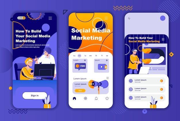 소셜 네트워크 스토리를위한 소셜 미디어 마케팅 모바일 앱 화면 템플릿