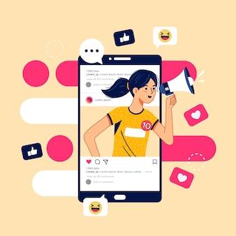 Social media marketing on mobile concept