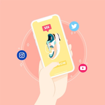 Social media marketing mobile phone concept illustrated