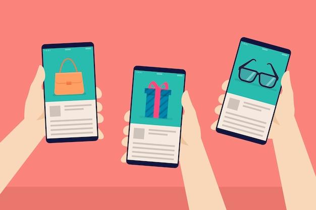 소셜 미디어 마케팅 휴대 전화 개념