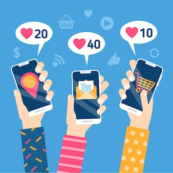 Social media marketing mobile phone concept