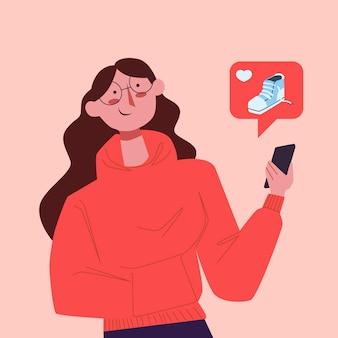 Telefono cellulare di marketing di media sociali illustrato