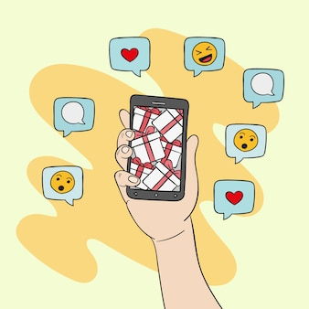 Social media marketing mobile phone illustration